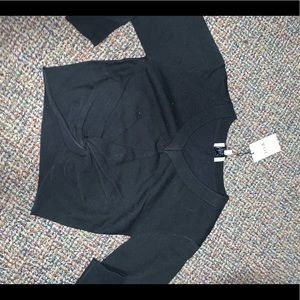 knot cropped black sweater